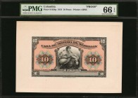 COLOMBIA. Republica de Colombia. 10 Pesos, 1919. P-S1028p. Front & Back Proofs. PMG Gem Uncirculated 66 EPQ.