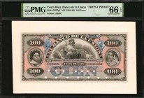 COSTA RICA. Banco de la Union. 100 Pesos, ND (1886-89). P-S227p1 & S227p2. Front & Back Proofs. PMG Gem Uncirculated 66 EPQ.