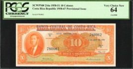 COSTA RICA. Banco Central de Costa Rica. 10 Colones, 1950-51. P-216a. PCGS Currency Very Choice New 64.