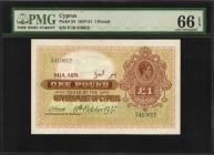 CYPRUS. Government of Cyprus. 1 Pound, 1937-51. P-24. PMG Gem Uncirculated 66 EPQ.