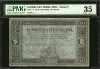 DANISH WEST INDIES. State Treasury. 10 Dalere, 1849 (ND 1900). P-4 (Sieg 17). PMG Choice Very Fine 35.
