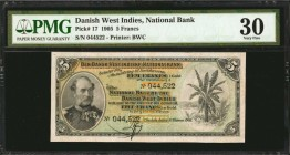 DANISH WEST INDIES. National Bank. 5 Francs, 1905. P-17. PMG Very Fine 30.
