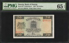 DANZIG. Bank of Danzig. 20 Gulden, 1937. P-63. PMG Gem Uncirculated 65 EPQ.