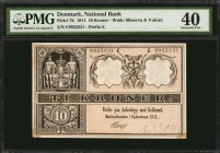 DENMARK. National Bank. 10 Kroner, 1911. P-7k. PMG Extremely Fine 40.
