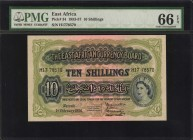EAST AFRICA. East African Currency Board. 10 Shillings, 1953-57. P-34. PMG Gem Uncirculated 66 EPQ.