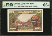 EQUATORIAL AFRICAN STATES. Banque Centrale. 500 Francs, 1963. P-4d. PMG Gem Uncirculated 66 EPQ.