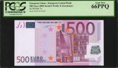 EUROPEAN UNION. European Central Bank. 500 Euro, 2002. P-7x. PCGS Currency Gem New 66 PPQ.