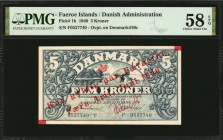 FAEROE ISLANDS. Danish Administration. 5 Kroner, 1940. P-1b. PMG Choice About Uncirculated 58 EPQ.