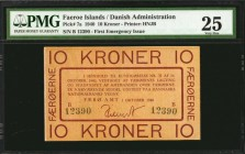 FAEROE ISLANDS. Danish Administration. 10 Kroner, 1940. P-7a. PMG Very Fine 25.