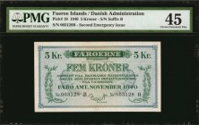 FAEROE ISLANDS. Danish Administration. 5 Kroner, 1940. P-10. PMG Choice Extremely Fine 45.