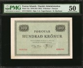 FAEROE ISLANDS. Danish Administration. 100 Kronur, 1949 (ND 1954). P-15a. PMG About Uncirculated 50.