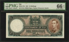 FIJI. Government of Fiji. 5 Shillings, 1951. P-37k. PMG Gem Uncirculated 66 EPQ.