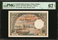 FRENCH AFARS & ISSAS. Tresor Public. 500 Francs, ND (1973). P-31. PMG Superb Gem Uncirculated 67 EPQ.