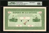 FRENCH GUIANA. Banque de la Guyane. 1000 Francs, ND (1942). P-15s. Specimen. PMG Gem Uncirculated 66 EPQ.