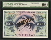 FRENCH GUIANA. Caisse Centrale de la France Libre. 1000 Francs, 1941. P-16A. Cancelled. PMG Gem Uncirculated 66 EPQ.