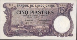 FRENCH INDO-CHINA. Banque de L'Indo-Chine. 5 Piastres, 1920. P-40. Very Fine.
