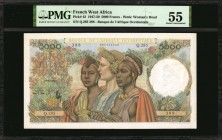 FRENCH WEST AFRICA. Banque de L'Afrique Occidentale. 5000 Francs, 1950. P-43. PMG About Uncirculated 55.