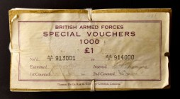 GREAT BRITAIN. British Armed Forces. 1 Pound, ND (1948). P-M22. About Uncirculated to Uncirculated.