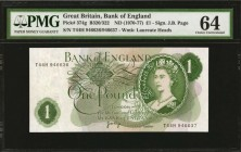 GREAT BRITAIN. Bank of England. 1 Pound, ND (1970-77). P-374g. Error Notes. PMG Choice About Uncirculated 58 to Gem Uncirculated 65 EPQ.