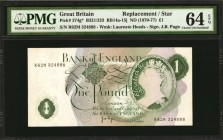 GREAT BRITAIN. Bank of England. 1 Pound, ND (1970-77). P-374g*. Replacement & Error. PMG Choice Uncirculated 64 EPQ.