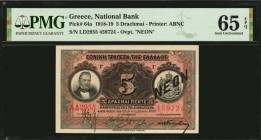 GREECE. National Bank. 5 Drachmai, 1918-19. P-64a. PMG Gem Uncirculated 65 EPQ.