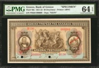 GREECE. Bank of Greece. 50 Drachmai, 1921-22. P-66s. Specimen. PMG Choice Uncirculated 64 EPQ.