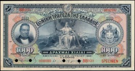 GREECE. National Bank. 1000 Drachmai, 1921. P-69v6s. Specimen. About Uncirculated.