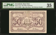GREENLAND. State Note. 50 Kroner, ND (1945). P-17Aa. PMG Choice Very Fine 35.