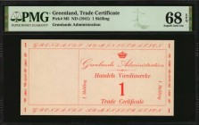 GREENLAND. Gronlands Administration. Trade Certificate. 1 Skilling, ND (1941). P-M5. PMG Superb Gem Uncirculated 68 EPQ.