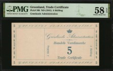 GREENLAND. Gronlands Administration. Trade Certificate. 5 Skilling, ND (1941). P-M6. PMG Choice About Uncirculated 58 EPQ.