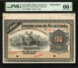 GUATEMALA. Banco Americano. 100 Pesos, ND (1914-25). P-S119s. Specimen. PMG Gem Uncirculated 66 EPQ.