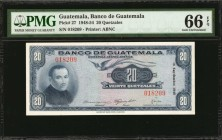 GUATEMALA. Banco de Guatemala. 20 Quetzales, 1948-54. P-27. PMG Gem Uncirculated 66 EPQ.