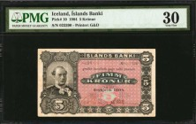 ICELAND. Islands Banki. 5 Kronur, 1904. P-10. PMG Very Fine 30.