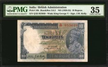 INDIA. British Administration. 10 Rupees, ND (1928-35). P-16b (Jhun 3.8.2). PMG Choice Very Fine 35.