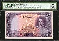 IRAN. Bank Melli. 100 Rials, ND (1944). P-44. PMG Choice Very Fine 35.