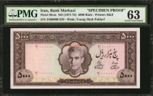 IRAN. Bank Markazi. 5000 Rials, ND (1971-72). P-85cts. Specimen Proof. PMG Choice Uncirculated 63.