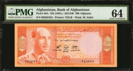 AFGHANISTAN. Bank of Afghanistan. 500 Afghanis, ND (1961). P-40A. PMG Choice Uncirculated 64.