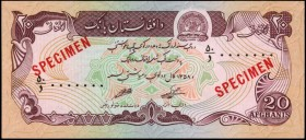 AFGHANISTAN. Da Afghanistan Bank. 20 Afghanis, ND. P-56s. Specimen. About Uncirculated.