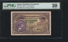 ANGOLA. Republica Portuguesa. 2 1/2 Angolares, 1942. P-69. PMG Very Fine 30.