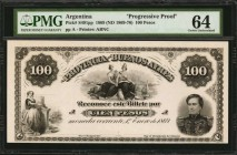 ARGENTINA. Provincia de Buenos Ayres. 100 Pesos, 1869 (ND 1869-76). P-S491pp. Progressive Proof. PMG Choice Uncirculated 64.