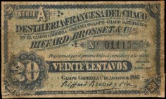 ARGENTINA. Campo Gabriela. 20 Centavos, 1887. P-Unlisted. Fine.