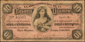 ARGENTINA. Administration de la Colonia Ocampo. 10 Centavos, 1888. P-Unlisted. Very Good.