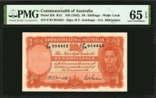 AUSTRALIA. Commonwealth of Australia. 10 Shillings, ND (1942). P-25b. PMG Gem Uncirculated 65 EPQ.