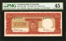 AUSTRALIA. Commonwealth of Australia. 10 Dollars, ND (1942). P-28b. PMG Choice Extremely Fine 45.