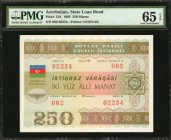 AZERBAIJAN. State Loan Bank. 250 Manat, 1993. P-13A. PMG Gem Uncirculated 65 EPQ.