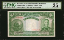 BAHAMAS. Bahamas Government. 4 Shillings, 1936. P-9a. PMG Choice Very Fine 35.