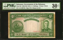 BAHAMAS. Bahamas Government. 4 Shillings, 1936. P-9b. PMG Very Fine 30 Net. Previously Mounted.