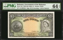 BAHAMAS. Bahamas Government. 1 Pound, 1936 (ND 1963). P-15d. PMG Choice Uncirculated 64 EPQ.