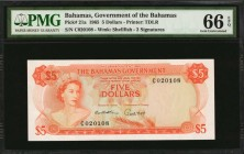 BAHAMAS. Bahamas Government. 5 Dollars, 1965. P-21a. PMG Gem Uncirculated 66 EPQ.