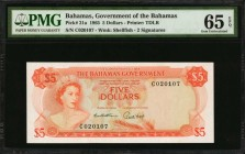 BAHAMAS. Bahamas Government. 5 Dollars, 1965. P-21a. PMG Gem Uncirculated 65 EPQ.